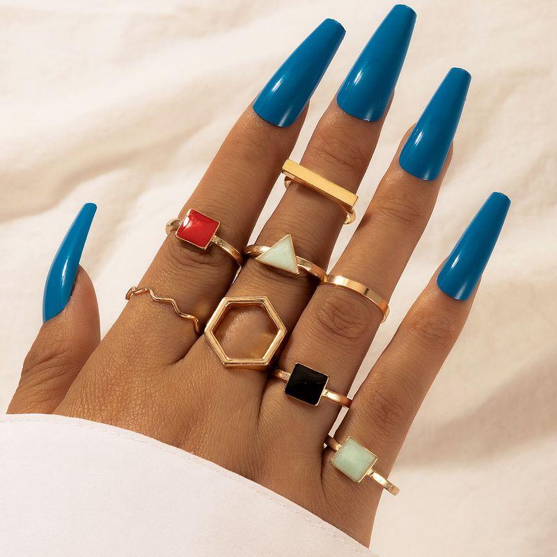 fashion retro ethnic style geometric color drip ring 8piece set NHGY277122