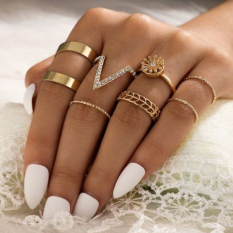 new diamond V-shaped  simple smooth  flower ring 7-piece set NHGY277123's discount tags