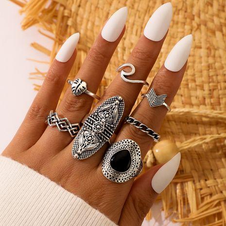 retro bohemian ethnic style inlaid black gemstone wave leaf ring set NHGY277124's discount tags