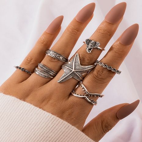 new retro colors leaf starfish elephant geometric leaf V-shaped totem 7-piece ring set NHGY277125's discount tags