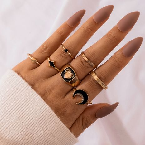 new simple fashion retro  black dripping moon love ring 7-piece set NHGY277126's discount tags