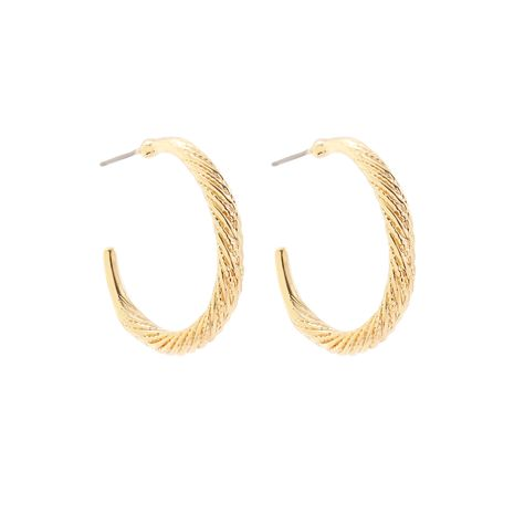 exaggerated golden C-shaped earrings  NHLL277153's discount tags