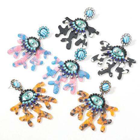 boucles d'oreilles fleur en acétate imprimé léopard yeux en résine NHJE277154's discount tags