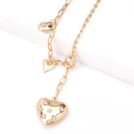 collier en forme de coeur d'amour incrusté de diamants en alliage multicouche NHJE277173's discount tags