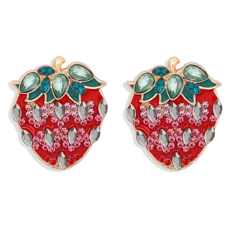 strawberry alloy diamond-studded earrings NHJQ277191's discount tags