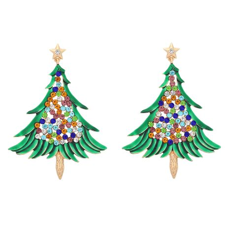 Wholesale diamond Christmas tree earrings  NHJQ277193's discount tags