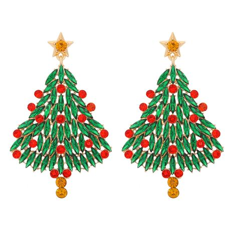 Shiny Christmas tree earrings  NHJQ277215's discount tags