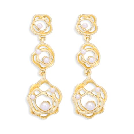 geometric all-match alloy inlaid pearl earrings  NHJQ277218's discount tags