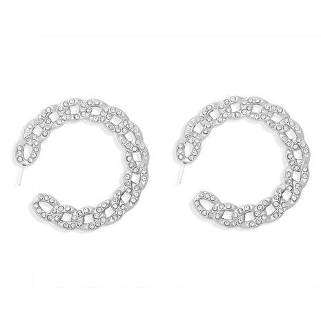 Boucles d'oreilles en forme de lettre C en alliage rétro pleines de diamants NHJQ277221's discount tags