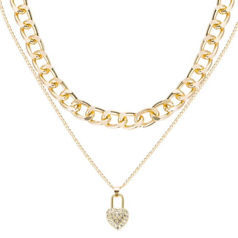 alloy heartshaped lock pendant exaggerated thick chain multilayer necklace NHLN277225
