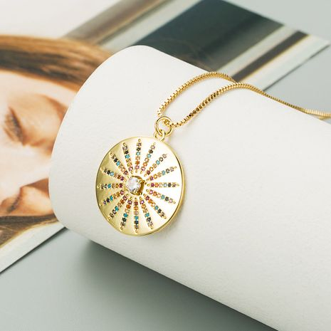 copper-plated 18K gold micro-inlaid colored diamonds Sunflower necklace  NHLN277231's discount tags