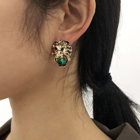 exaggerated retro lion head earrings NHMD277249's discount tags