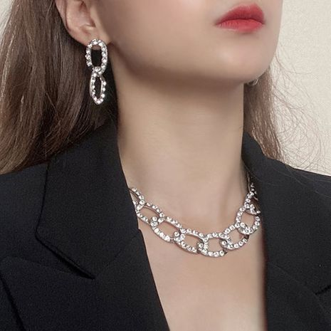 exaggerated fashion full diamond earrings necklace set NHMD277256's discount tags