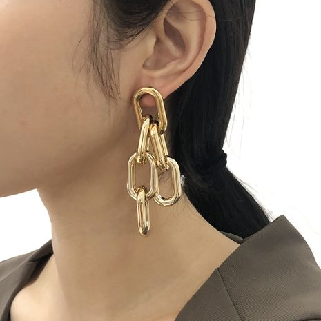 exaggerated geometric chain hip-hop punk style earrings  NHMD277260's discount tags