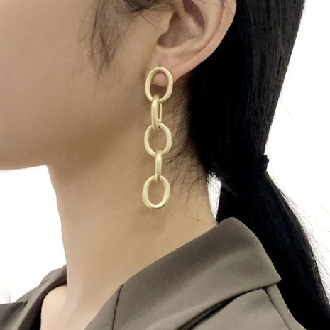creative metal buckle long retro exaggerated earrings wholesale NHMD277265's discount tags
