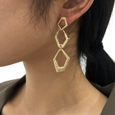 French retro long geometric irregular earrings NHMD277277's discount tags