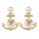 small bee diamond anchor pearl earrings  NHMD277279