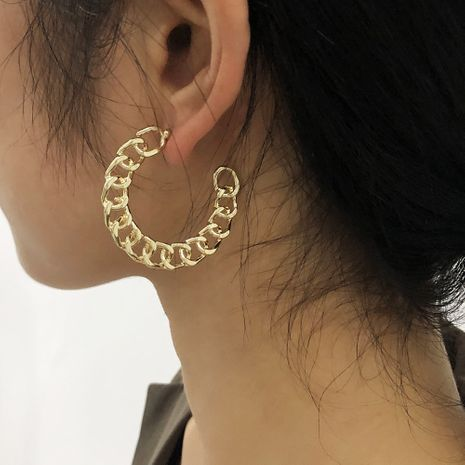 C-shaped exaggerated chain metal hollow earrings NHMD277280's discount tags