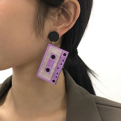 tape exaggerated funny hip-hop style geometric earrings NHMD277285's discount tags