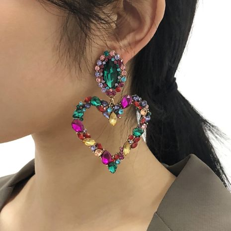 exaggerated heart fashion earrings NHMD277289's discount tags