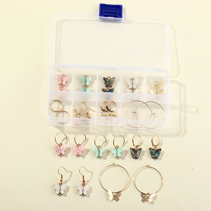 butterfly acrylic alloy small pendant earrings NHNZ277299