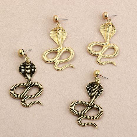 aretes retro de metal con forma de serpiente NHNZ277305's discount tags