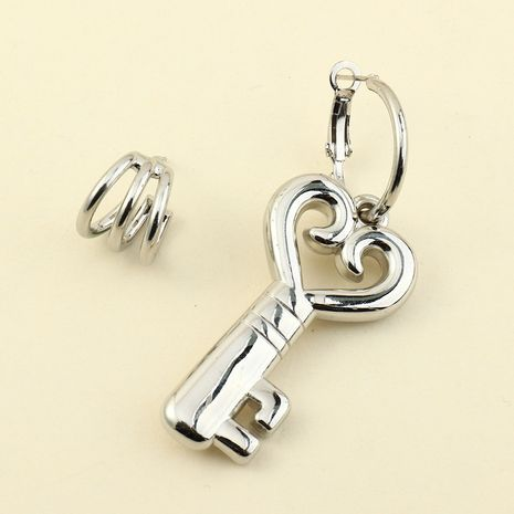 Heart Key Asymmetrical Earrings NHNZ277311's discount tags