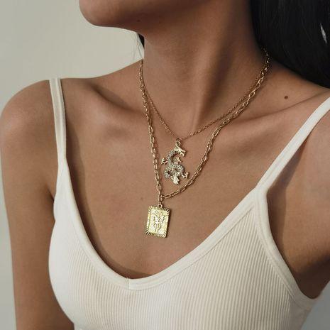 retro creative dragon pendant double-layer long necklace set NHXR277326's discount tags