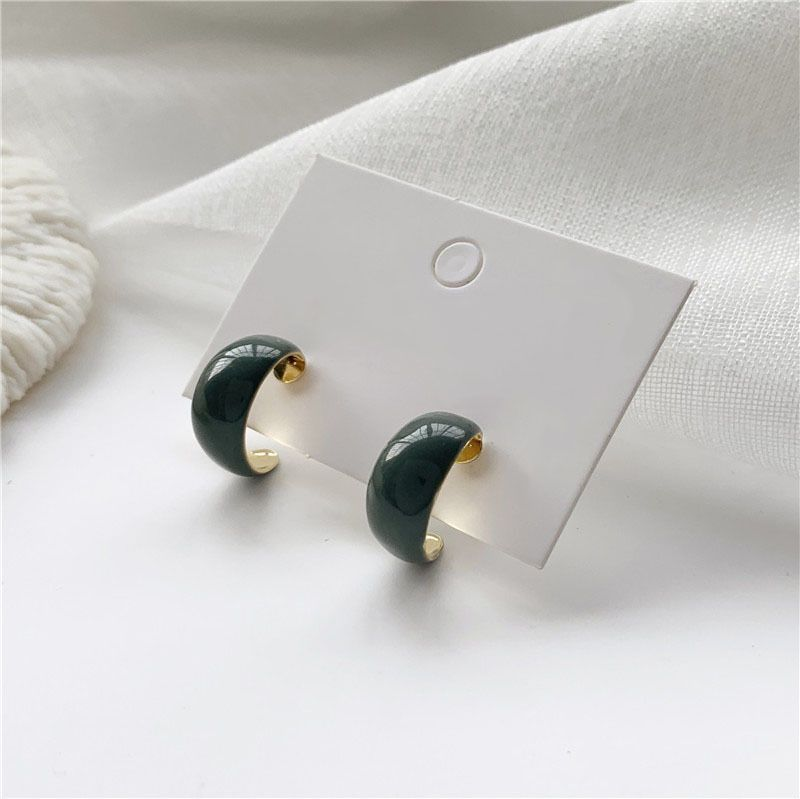 S925 silver needle blue retro C-shaped earrings NHPF277338