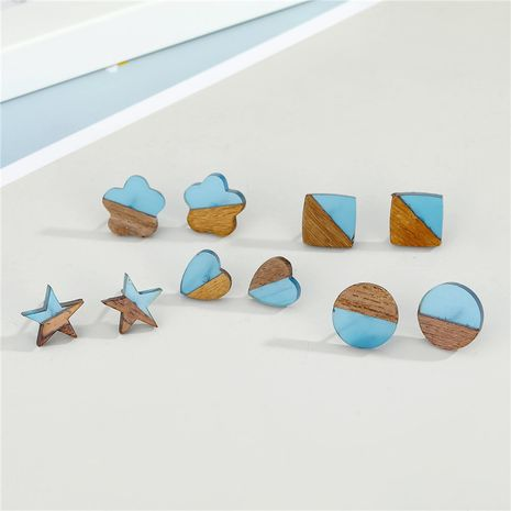 cute resin wood stitching earrings  NHGO277360's discount tags