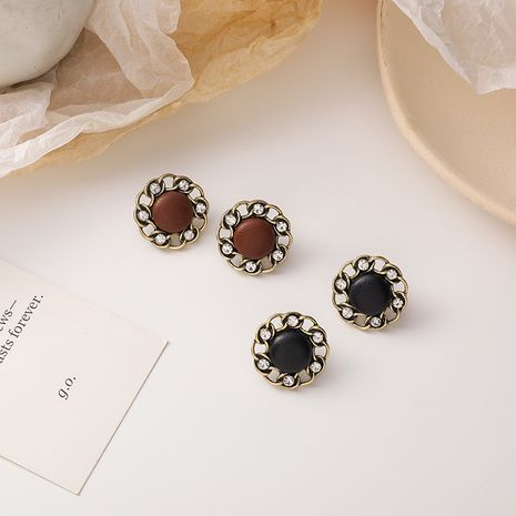 Korean retro metal chain round leather earrings  NHMS277366's discount tags
