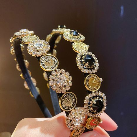 Baroque palace style clock rhinestone headband  NHMS277412's discount tags