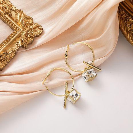 Petites boucles d'oreilles carrées coréennes pleines de diamants NHMS277416's discount tags