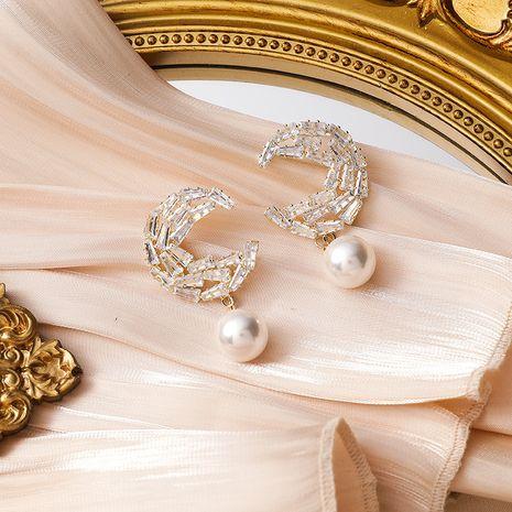 Pearl zircon moon earrings NHMS277458's discount tags