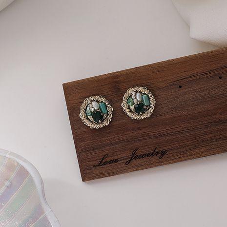 Petites boucles d'oreilles en cristal vert aiguille en argent 925 NHMS277472's discount tags