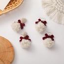 Burgundy Velvet Bow Lamb Hair Ball Stud Earrings NHMS277474