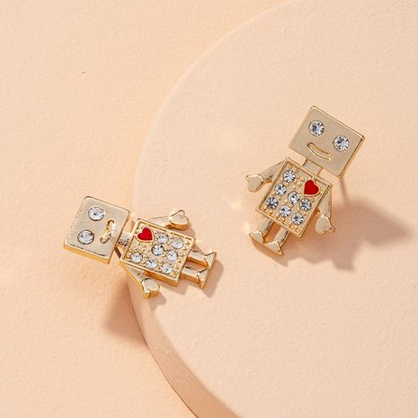 diamond-studded robot tassel earrings NHAI277513's discount tags