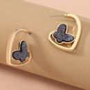 butterfly crystal cluster Cshaped earrings  NHAN277533