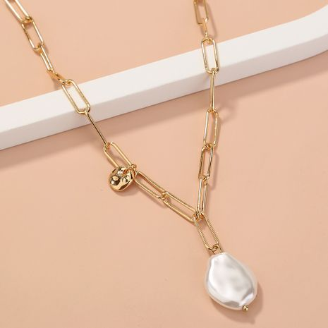 fashion simple  special-shaped  pearl  lattice chain single-layer necklace NHAN277535's discount tags