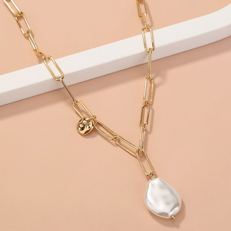 fashion simple  special-shaped  pearl  lattice chain single-layer necklace NHAN277535
