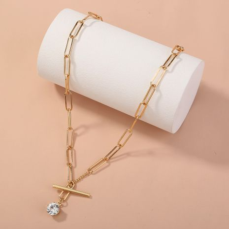 simple  lattice  square T buckle necklace NHAN277528's discount tags