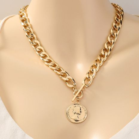 exaggerated retro round portrait tag T-buckle  necklace NHAN277526's discount tags