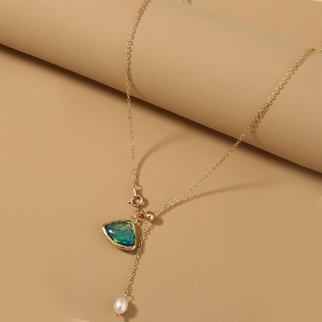 Natural Freshwater Pearl Triangle Green Glass Long  Gold  Necklace NHAN277539's discount tags