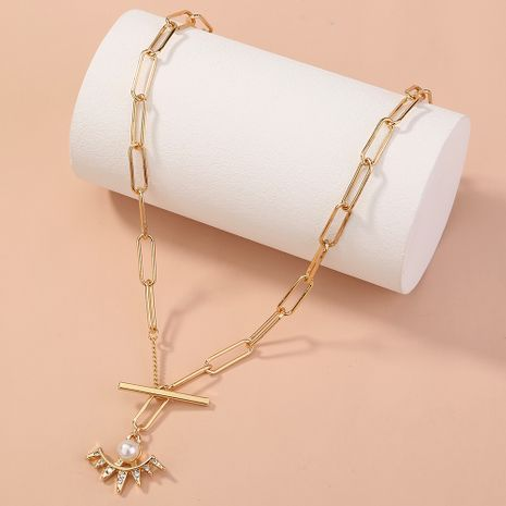 fashion simple lattice T buckle fan-shaped diamond-studded pearl  necklace NHAN277524's discount tags