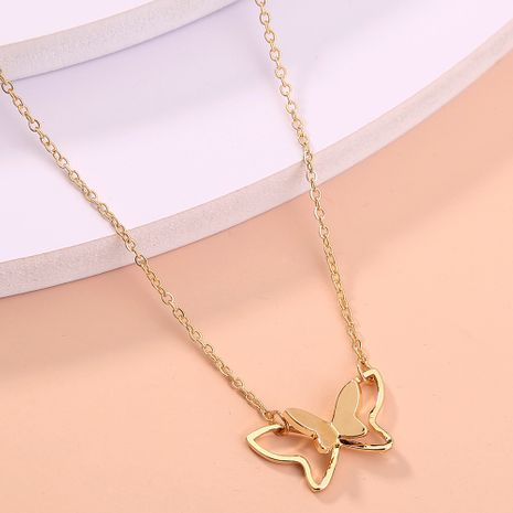 simple  double butterfly three-dimensional  necklace NHAN277543's discount tags