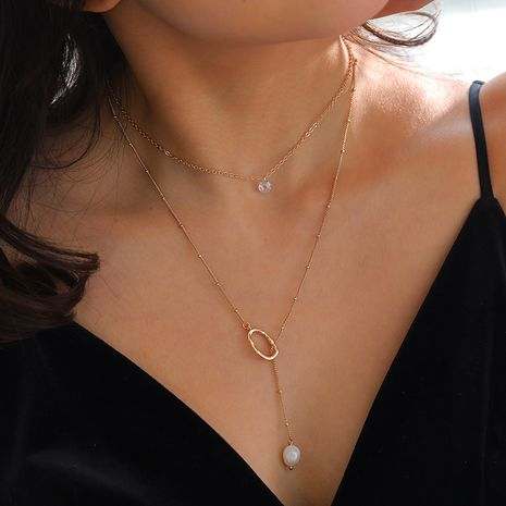 golden shaped natural freshwater pearl  necklace  NHAN277542's discount tags