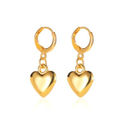 punk style metal heart-shaped earrings NHMO277560's discount tags