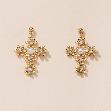 cross flower earrings NHGU277573's discount tags