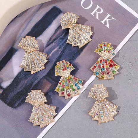 Boucles d'oreilles en forme de coquille de diamant géométrique créative NHLA277582's discount tags
