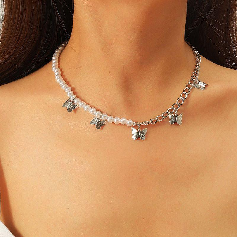 Bohemian Asymmetric Pearl Butterfly Necklace  NHLA277584